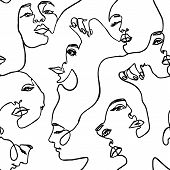 Continuous Line Face Women Seamless Pattern - Vector Endless Background Fashion Female Portrait One  poster