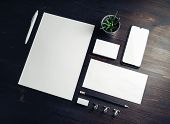 Corporate Identity Template. Branding Mock Up. Blank Business Stationery Mock-up On Wood Table Backg poster