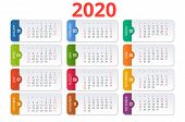 2020 Calendar. Print Template. Week Starts Sunday. Portrait Orientation. Set Of 12 Months. Planner F poster