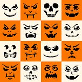 Funny Monsters Seamless Pattern. Halloween Pumpkins Carved Faces Silhouettes. Vampires, Skeletons, D poster