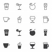 Drink Icon Set, Line And Glyph Version, Outline And Filled Vector Sign. Linear And Full Pictogram. S poster
