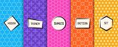 Vector Geometric Seamless Patterns Collection. Bright Colorful Background Swatches With Simple Moder poster
