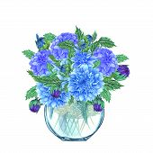 Watercolor Glass Vase With Flower Bouquet Inside, Hand Drawn Isolated On A White Background. Waterco poster