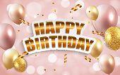 Glossy Happy Birthday Balloons Background Vector Illustration poster
