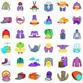 Winter Stuff Icons Set. Cartoon Set Of 36 Winter Stuff Vector Icons For Web Isolated On White Backgr poster