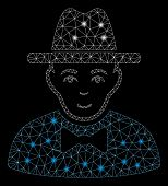 Glowing Mesh Spy With Lightspot Effect. Abstract Illuminated Model Of Spy Icon. Shiny Wire Carcass T poster