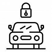 The Lock Above The Car Icon. Outline The Lock Above The Car Vector Icon For Web Design Isolated On W poster