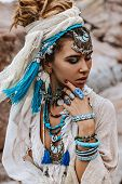 Young Tribal Style Woman With Lot Of Boho Accessories Portrait poster