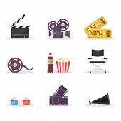 Cinematography Items Vector Illustrations Set. Movie Directing, Filmmaking. Cinema Ticket, 3d Glasse poster