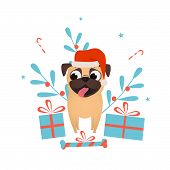 Happy Pet Dog Pug With Christmas Presents Dress Up Santa Hat.christmas And New Year Presents For Pet poster