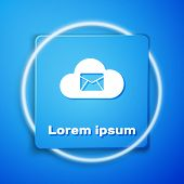 White Cloud Mail Server Icon Isolated On Blue Background. Cloud Server Hosting For Email. Online Mes poster