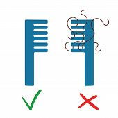 Two Blue Comb. There Is A Lost Hair On The Right Comb. There Is Not Hair On Left It. Vector On White poster
