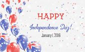 Cook Islands Independence Day Greeting Card. Flying Balloons In Cook Islands National Colors. Happy  poster