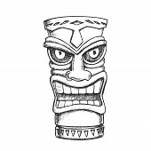 Tiki Idol Carved Wood Statue Monochrome Vector. Cultural Antique Scary Totem Sculpture Angry Face Id poster