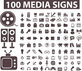 100 media signs, icons, buttons, vector