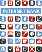 Internet bank icons, signs, vector