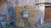 Archery Target On The Background Of The Walls Of The Ancient City. The Attributes Of The Middle Ages poster