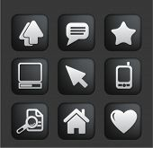 computer & web Icons on square black and white buttons, vector