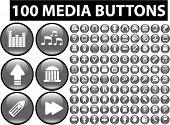Постер, плакат: 100 медиа кнопки значки знаки вектор
