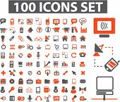 100 icons set, vector illustration