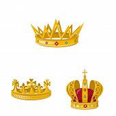 Vector Illustration Of Monarchy And Gold Logo. Collection Of Monarchy And Heraldic Stock Symbol For  poster