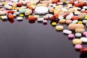 Different Colorful Pills And Capsules. Global Pharmaceutical Industry For Billions Dollars Per Year. poster