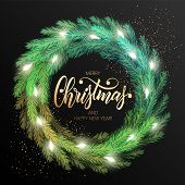 Merry Christmas Greeting Card With A Realistic Colorful Wreath Of Pine Tree Branches, Decorated With poster