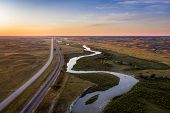 dawn over a river meandering through Nebraska Sandhills - aerial view of Middle Loup River near Hals poster