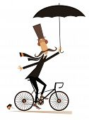 Long Mustache Man Rides On The Bike Isolated Illustration. Cartoon Long Mustache Man In The Top Hat  poster