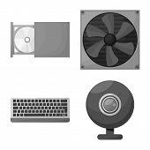 Vector Illustration Of Desktop And Technology Symbol. Collection Of Desktop And Device Vector Icon F poster