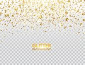 Glitter Confetti. Gold Glitter Particles Falling On Transparent Background. Christmas Bright Shimmer poster