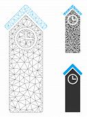 Mesh Time Tower Model With Triangle Mosaic Icon. Wire Carcass Triangular Mesh Of Time Tower. Vector  poster