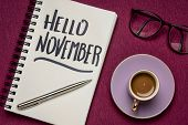 Hello November - handwriting in a notebook with a cup of coffee, workspace business flat lay poster