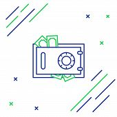 Blue And Green Line Safe And Money Icon Isolated On White Background. The Door Safe A Bank Vault Wit poster