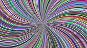 Multicolored Abstract Psychedelic Swirl Stripe Background - Vector Curved Burst Graphic poster