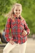 Fashionable Clothes That Make You Feel Good. Happy Little Child Wearing Fashionable Plaid Shirt. Fas poster