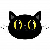 Black Cat Round Head Face Icon. Cute Funny Cartoon Character. Big Yellow Eyes. Sad Emotion. Kitty Wh poster