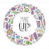 Make Up Doodle Logo With Lipstick, Cream, Mascara, Powder, Shades, Brush, Handwritten Lettering. Tex poster