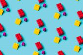 Top View Of Plastic Blocks Background. Flat Lay Image Of Toy Background Made With Pink Building Bloc poster