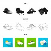 Vector Illustration Of Weather And Climate Logo. Set Of Weather And Cloud Vector Icon For Stock. poster