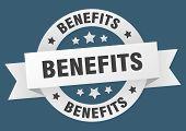 Benefits Ribbon. Benefits Round White Sign. Benefits poster