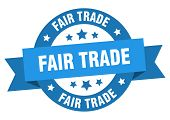 Fair Trade Ribbon. Fair Trade Round Blue Sign. Fair Trade poster