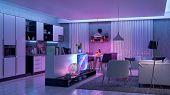 Modern Livingroom With Colored Led Light - Smart Home. 3d Render poster