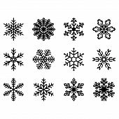 Winter Set Of Snowflakes. Snowflake Icons. Snowflakes Collection For Design Christmas And New Year B poster