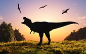 Giant dinosaur in the background of the colorful sky.,3d render poster