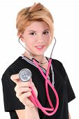 stock photo of striper  - Beautiful teen girl dressed in nursing home volunteer help uniform - JPG