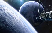 Inhabited Planet, Space Station In Deep Space. Science Fiction. Elements Of This Image Furnished By  poster