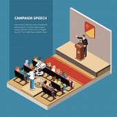 Campaign Speech Isometric Background With Political Candidate On Scene Tv Operator And Electorate In poster