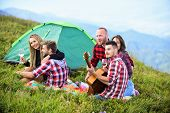 Friends Enjoy Vacation. Pleasant Hike Picnic. People Eating Food. Hike Picnic. Camping Concept. Yout poster