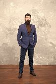 Classy Style. Man Bearded Hipster Wear Classic Suit Outfit. Formal Outfit. Take Good Care Of Suit. E poster